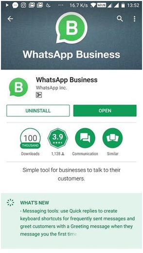 WhatsApp Business in Google Play Store
