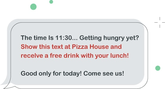 good sms example with a free drink
